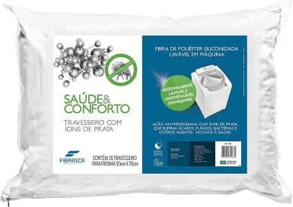 Travesseiro Saúde e Conforto íons De Prata - Anti Bactericida - Fibra Integralmente Lavável