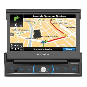 DVD Player Automotivo Positron SP6920 NAV 1 Din 7 Pol Retrátil Bluetooth GPS USB AUX TV Espelhamento