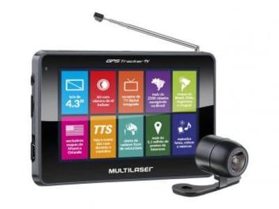 """GPS Automotivo Multilaser Tracker III Tela 4.3"""" - Touch TV Digital com Câmera de Ré - Magazine Ofertaesperta"""