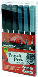 Caneta Ponta Pincel Newpen Brush Pen 6 Unidades Tons de Cinza