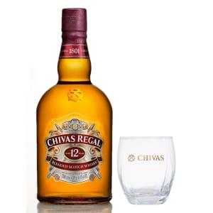 Kit Whisky Chivas Regal 12 1L + Copo de vidro Chivas
