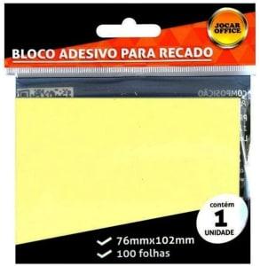 Bloco Adesivo Para Recado Amarelo 102x76 C/ 100 Folhas Leonora, Amarelo