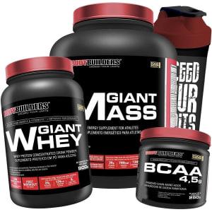 Kit Giant Mass Bodybuilders - Morango - 3Kg + Giant Whey - 900g + BCAA 4.5g - Uva - 250g + Coqueteleira