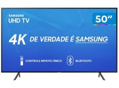 "Smart TV 4K LED 50"" Samsung UN50RU7100 Wi-Fi - HDR 3 HDMI 2 USB - Magazine Ofertaesperta"