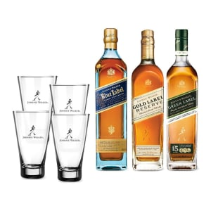 Combo Johnnie Reserve (jw Blue Label 750ml + Jw Green Label 750ml + Jw Gold Label + 4 Highballs)