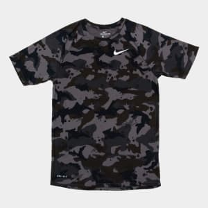 Camiseta Nike Dry Camuflada Masculina - Cinza e Branco