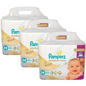 Oferta ➤ Kit 3 Fraldas Pampers Premium Care Tamanho M com 252 Unidades   . Veja essa promoção