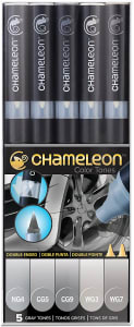Kit 5 Canetas Chameleon CT0509 Cinzas