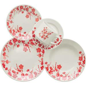 Aparelho de Jantar/Chá 20 Peças Cerâmica Donna Jardim Oriental Multicolorido - Biona