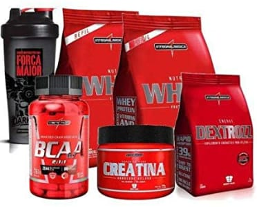 Kit 2x Whey 900g + Bcaa + Creatina + Coqueteleira+ Dextrozz (Morango/Baunilha)