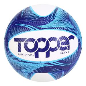 Bola de Futsal Slick II 19 Topper Exclusiva - Azul e Branco