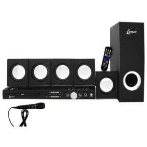 Home Theater 5.1 Canais 270W Lenoxx com DVD,Rádio FM, Karaokê c/ Pontuação, Função Ripping, Conexão USB e Auxiliar + 1 Microfone Grátis,Bivolt - HT723