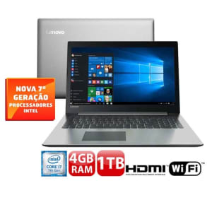 """Notebook Lenovo Core i7-7500U 4GB 1TB Tela Full HD 15.6"""" Windows 10 Ideapad 320"""