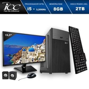 "Computador ICC IV2583CM19 Intel Core I5 3.20 ghz 8GB HD 2TB DVDRW Kit Multimídia Monitor LED 19,5"" HDMI FULLHD"
