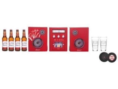 Kit Cerveja Budweiser Bud Box Lager 4 Unidades - 330ml com Copo e Porta Copo