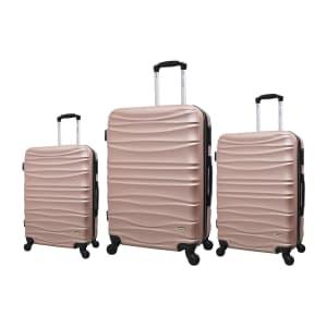 Oferta ➤ Conjunto de Malas de Viagem Yins com Rodinhas Giro 360° 3 Peças Rosa YS21054RO   . Veja essa promoção