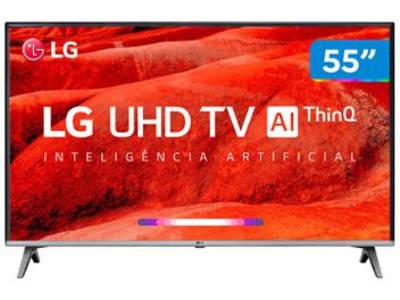 "Smart TV 4K LED 55"" LG 55UM7520PSB Wi-Fi HDR - Inteligência Artificial 4 HDMI 2 USB - Magazine Ofertaesperta"