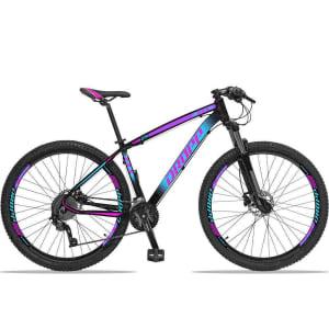 Bicicleta Dropp Z4X 27v Câmbios ACERA/DEORE Freio Hidráulico Suspensão com Trava no Ombro Aro 29 - Azul e Rosa