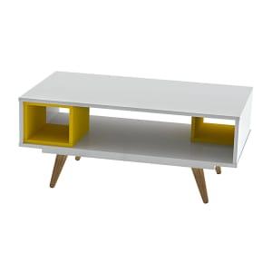 Mesa de Centro Retangular 39,30x90,40x50,04cm MDP Branco e Amarelo Olivar Retrô 45