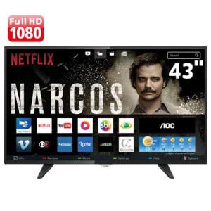 """Smart TV LED 43"""" Full HD AOC LE43S5970 com Wi-Fi, Conversor Digital Integrado, App Gallery, Botão Netflix, Entradas HDMI e USB"""