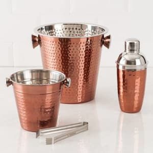 Kit Bar Copper em Aço Inox La Cuisine: Balde de Gelo 1,2L 14cm com pegador + Coqueteleira 500ml + Balde para Champagne/Vinho 4,5L 22cm