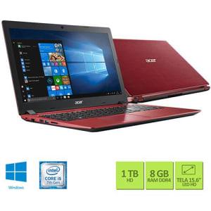 "Notebook A315-51-50LA Intel Core I5-7200u 8GB 1TB LED 15.6"" W10 Vermelho - Acer"