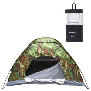 Barraca De Camping para 03 Pessoas + Mini Lampião Talino Nautika À Pilhas Para Barracas - Verde