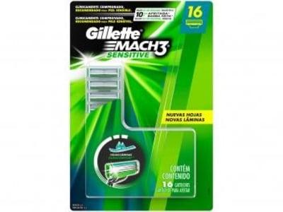 Carga Gillette Mach3 Sensitive - 16 Cartuchos