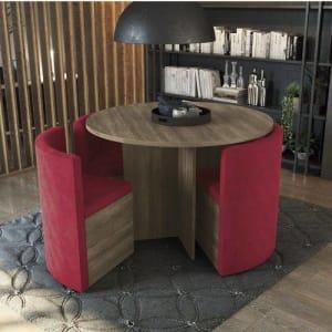 Conjunto Sala De Jantar Mesa Redonda 4 Cadeiras Estofadas Kappesberg Nogal/vermelho
