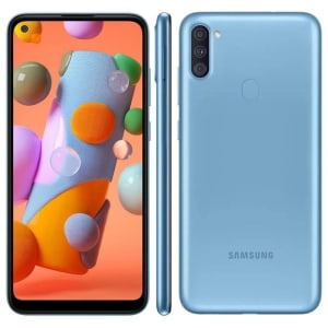 Smartphone Samsung Galaxy A11 64GB Azul 4G Tela 6.4 Pol. Câmera Tripla 13MP Selfie 8MP Dual Chip Android 10.0