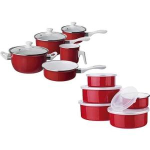 Conjunto de Panelas 5 peças + 5 potes Agatha Colors Vermelha - Euro Home