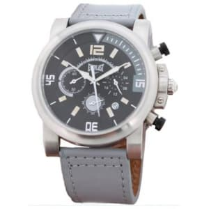 Relógio Masculino Everlast Cronógrafo, Pulseira de Couro, Caixa de 5,2 cm, Resistente à Água 50 Metros - E224