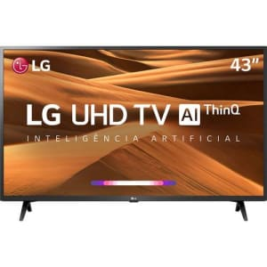 "Smart TV Tela Led 43"" LG 43UM7300PSA Ultra HD com Conversor Digital + Wi-Fi 2 USB 3 HDMI Thinq Ai"