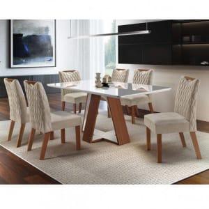 Conjunto Sala de Jantar Mesa 6 Cadeiras Grécia Premium Siena Móveis Castanho/Bege