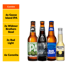 Kit Corona + Cervejas Artesanais Americanas (16 Garrafas)