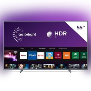 Smart TV LED 55'' Philips 55PUG6794 4K Ultra HD AMBILIGHT 3 lados HDR10+ Dolby Vision Dolby Atmos Bluetooth Wifi 3 HDMI 2 USB - Prata