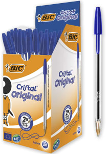 Caneta Esferográfica 1.0mm Cristal Azul Bic CX 50 UN