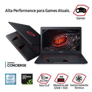 "Notebook Gamer Samsung NVIDIA GeForce GTX 1050 Core i7-7700HQ 8GB 1TB Tela Full HD 15.6"" Windows 10 Odyssey NP800G5M-XG2BR"