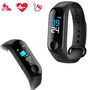(APP) Relógio Inteligente Smartband M3 Monitor Cardíaco Relogio Azul