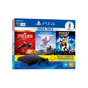 Console Playstation 4 Hits 1TB Bundle 15 - Games Spider-Man: Goty + Horizon Zero Dawn: Complete Edition + Ratchet&Clank