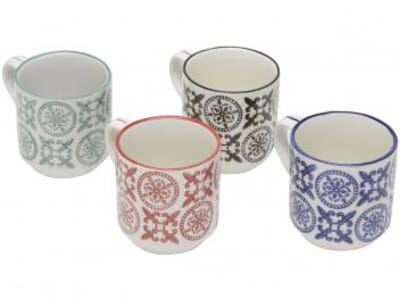 Oferta ➤ Jogo de canecas de Chá de Porcelana Colorido 150ml – Lyor Royal 6744 4 Peças   . Veja essa promoção