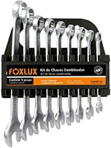 Jogo de Chave Combinada Foxlux – Kit com 9 peças – 8mm a 19mm – Aço Carbono – Acabamento Niquelado – Prateado