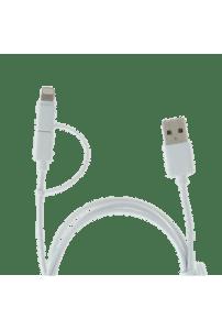 Cabo Duo Enerziger Lighting/Micro USB Nylon 1M Branco