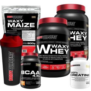 Kit 2x Waxy Whey 900g + BCAA 4,5 100g + Creatine 100g + Waxy Maize 800g + Coquet 600ML Bodybuilders
