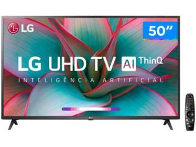 "Smart TV 4K LED 50"" LG 50UN7310PSC Wi-Fi Bluetooth - Inteligência Artificial 3 HDMI 2 USB - Magazine Ofertaesperta"