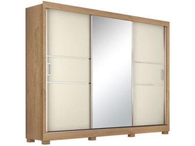 Guarda-roupa Casal com Espelho 3 Portas de Correr - 3 Gavetas Europa Maranello 11617.1 - Magazine Ofertaesperta