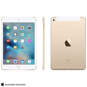 """iPad Mini 4 Dourado com 7,9"""", Wi-Fi, 4G, OS 9.0, Processador A8 e 16GB - AEMK712BZADRD"""