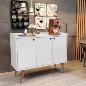 Aparador Buffet Retrô 3 Portas Wood - Branco - Rpm Móveis