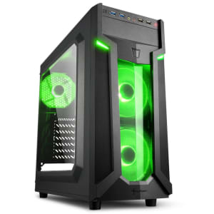 Gabinete Gamer Sharkoon VG6-W Green ATX sem Fonte, USB 3.0, 3 Fans LED, Preto com Lateral em Acrílico