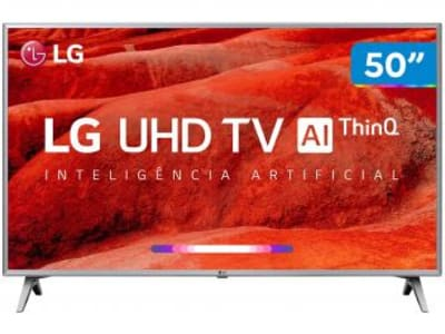 "Smart TV 4K LED 50"" LG 50UM7500PSB Wi-Fi - Inteligência Artificial Conversor Digital 4 HDMI - Magazine Ofertaesperta"